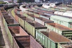 Heel wat lege spoorauto's Stock Foto