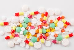 Heel wat pillen en vitaminen Hoogste mening Het concept geneeskunde, ziekte, gezondheid Royalty-vrije Stock Foto