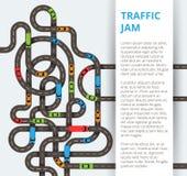Heel wat windende wegen met kleurrijke auto's en vrachtwagens Mede verkeer stock illustratie