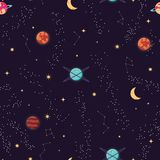 Heelal met planeten en sterren naadloos patroon, hemel van de kosmos de sterrige nacht royalty-vrije illustratie