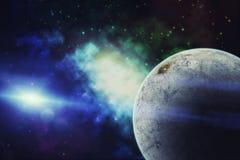 Heelal met ster, nevel, ijsplaneet en melkweg wordt gevuld die Royalty-vrije Stock Afbeeldingen