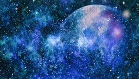 Heelal met sterren, nevel en melkweg wordt gevuld die stock illustratie