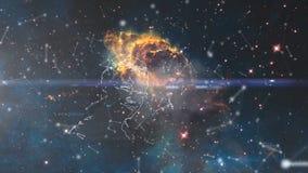 Heelal met sterren, nevel en melkweg wordt gevuld die Nevel en melkwegen in ruimte Melkweg en roze licht bij bergen Stock Foto's