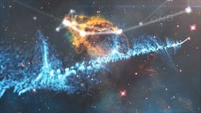 Heelal met sterren, nevel en melkweg wordt gevuld die Nevel en melkwegen in ruimte Melkweg en roze licht bij bergen Stock Afbeeldingen