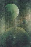 Heelalscène met planeten en gestreepte achtergrond stock illustratie