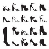 Heeled shoes silhouette. Set of isolated, black icons Heeled shoes silhouette Stock Photography
