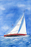 Heeling sailboat Royalty Free Stock Photography