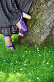 Heels. Detail of heel shoes in nature background Stock Photos