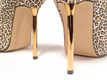 Heels. Leopard Skin Shoes Royalty Free Stock Image