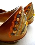 Heels. Of shoes with embroidery details Royalty Free Stock Images