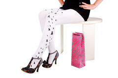 Heels. Legs in heels, Woman legs wearing gift and heels, clipping path Royalty Free Stock Photo