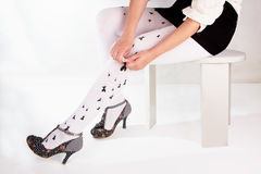 Heels. Legs in heels, Woman legs wearing pantyhose and heels Stock Images
