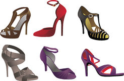 Heels, Pumps & Stilettos With Straps. Different types of fashionable heels, pumps and stilettos with straps Stock Photography