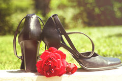 Heels with a rose. Painted out Royalty Free Stock Photos
