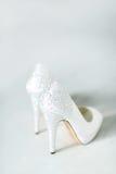 Heels. White heels on the floor Royalty Free Stock Image