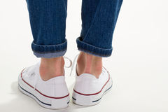 Heels of white of sneakers. Stock Photo