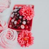 Heemst van Amerikaanse veenbes, roze Roze bloemen Eigengemaakt zefier royalty-vrije stock foto