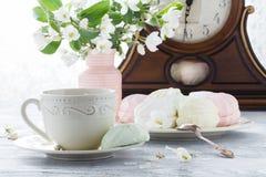 heemst of zefir dessert op witte plaat met takken van blo royalty-vrije stock afbeelding