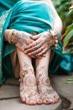 Heena de Mehendi nos pés Imagens de Stock