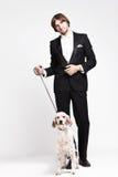 Heer en hond Royalty-vrije Stock Afbeeldingen