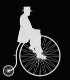 Heer op Penny Farthing White Retro Silhouette Stock Afbeelding