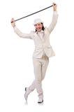 Heer in wit die kostuum op wit wordt geïsoleerd Royalty-vrije Stock Afbeelding