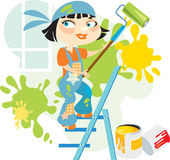 heerful ζωγράφος σπιτιών Διανυσματική απεικόνιση