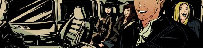 Heerful bedrijf Ð ¡ in de auto Stock Foto