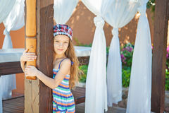 Heerful girl in dress Stock Photos