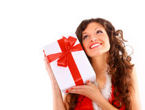 Heerful santa helper girl Stock Photos