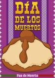 Heerlijk & x22; Brood van Dead& x22; voor Mexicaan & x22; Dia de Muertos & x22; , Vectorillustratie vector illustratie