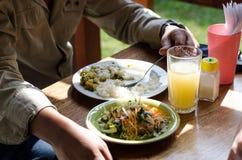 Heerlijk eigengemaakt voedsel, caucau met rijst en salade stock fotografie