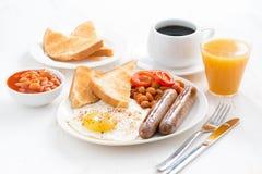 Heerlijk Engels ontbijt met worsten royalty-vrije stock afbeeldingen