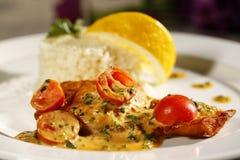 Heerlijk gastronomisch voedsel bij restaurant royalty-vrije stock afbeeldingen