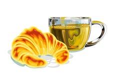 Heerlijk gebakken croissant en een kop thee - illustratie Stock Foto