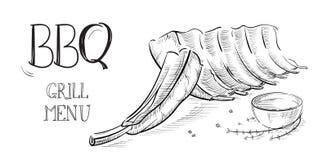 Heerlijk gebraden die vleeslapje vlees op witte achtergrond wordt geïsoleerd stock illustratie