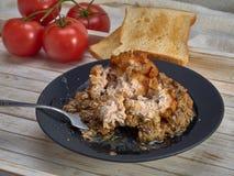 Heerlijk gebraden Pasteitje van kippenvlees, Pozharskaya Met romige paddestoelsaus Verse groentesalade Gebraden toost royalty-vrije stock foto's