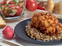 Heerlijk gebraden Pasteitje van kippenvlees, Pozharskaya Met romige paddestoelsaus Verse groentesalade Gebraden toost stock afbeelding