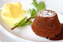 Heerlijk heet en koud dessert Stock Foto's