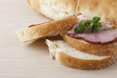 Heerlijk kijkend ham sandwitch Stock Fotografie