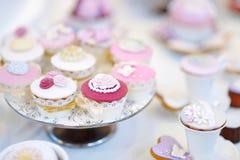 Heerlijk kleurrijk huwelijk cupcakes Royalty-vrije Stock Foto's