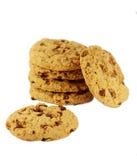 Heerlijk koekje en chocolade op witte achtergrond royalty-vrije illustratie