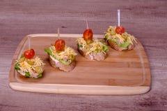 Heerlijk Mini Sandwiches met integraal brood stock foto's