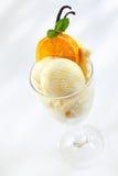 Heerlijk roomijs met verse sinaasappelen royalty-vrije stock fotografie