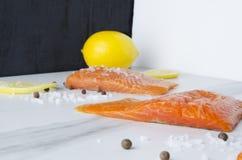 Heerlijk ruw stuk van zalm met citroen, peper en seasalt in driedimensionele ruimte stock foto
