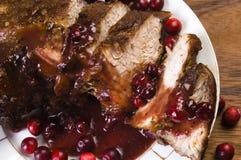 Heerlijk Scrambled Geroosterd vlees met Amerikaanse veenbes stock afbeelding