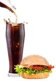 Heerlijk snel voedsel met hamburger en kola Stock Foto