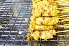 Heerlijk Thais lokaal de straatvoedsel van Varkensvleessatay met macro dichte omhooggaand Stock Foto's