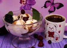 Heerlijk vanilleroomijs, met chocolade en heerlijk fruit, een kleine kop van natuurlijke koffie stock foto