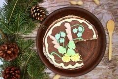 Heerlijk, verfraaid met een roomcake De traditionele Oekra?ense Cake van Kiev stock afbeelding